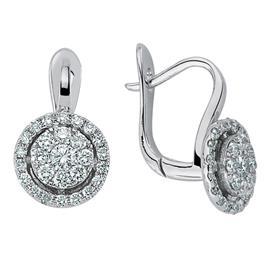 Серьги с бриллиантами из белого золота 750 пробы, артикул R-DEA06395-09