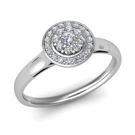 Кольцо с 1 бриллиантом 0,07 ct 4/5 и 26 бриллиантами 0,20 ct 4/5 из белого золота 585°, артикул R-D47896-2