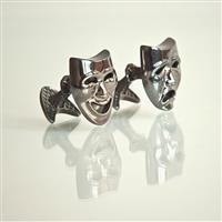 Запонки Маски из серебра 925 пробы с покрытием родием