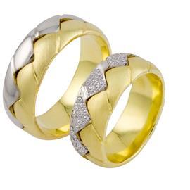 Эксклюзивные обручальные кольца 70 бриллиантов белое желтое золото, артикул R-ТС 2261