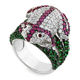 Кольцо Лягушка серебро 925° фианиты, артикул R-3529