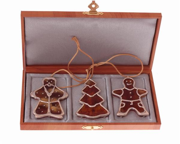 Новогодний  набор подарок сувенир  с янтарём