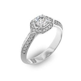 Помолвочное кольцо с 1 бриллиантом 0,45 ct 4/5  и 40 бриллиантами 0,28 ct 4/5 из белого золота 585°, артикул R-D35968-2