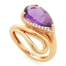 Кольцо с 1 аметистом 4,17 ct и 34 бриллиантами 0,24 ct 4/5 розового золота, артикул R-MRO11389
