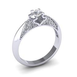 Кольцо с 1 бриллиантом 0,40 ct 4/5 и 36 бриллиантами 0,3 ct 4/5 из белого золота 585°, артикул R-D47938-2