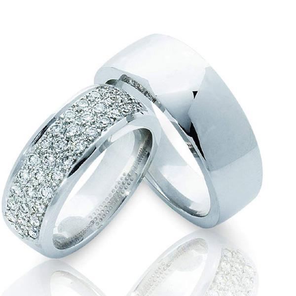 Обручальные кольца парные из белого золота, артикул R-ТС 3298-2