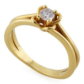 Помолвочное кольцо с 1 бриллиантом 0,20 ct 4/5 желтое золото, артикул R-ЯК048-1