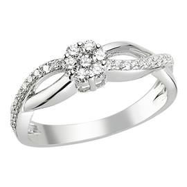 Кольцо с 27 бриллиантами 0,34 ct 4/5 из белого золота 585°, артикул R-DRN11521-01