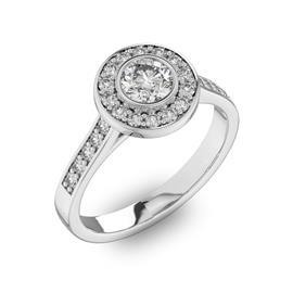 Помолвочное кольцо с 1 бриллиантом 0,45 ct 4/5  и 24 бриллиантами 0,3 ct 4/5 из белого золота 585°, артикул R-D40577-2