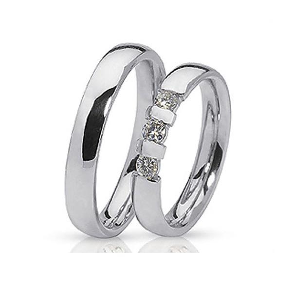 Обручальные кольца парные с бриллиантами из белого золота 585 пробы