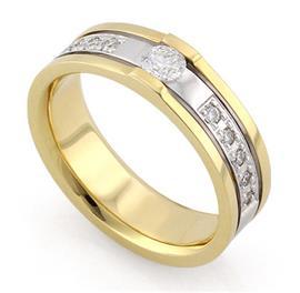 Обручальное кольцо с бриллиантами из белого и желтого золота, артикул R-С2989