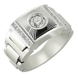 Кольцо с 1 бриллиантом 0,54 ct 3/4 и 16 бриллиантами 0,16 ct 4/4 из белого золота, артикул R-80923