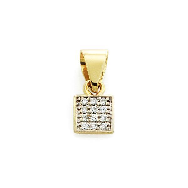 Подвеска с 12 бриллиантами 0,07 ct 4/5 из желтого золота, артикул R-ПНП 110