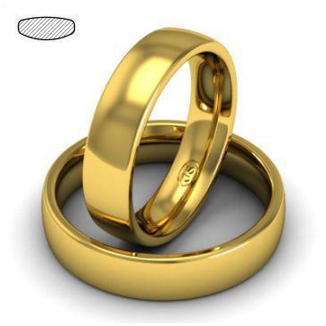 Обручальное классическое кольцо из желтого золота, ширина 5 мм, комфортная посадка, артикул R-W455Y