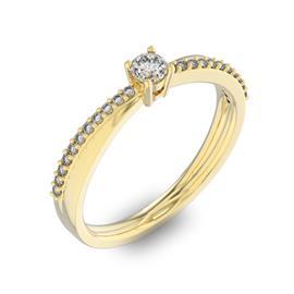Помолвочное кольцо с 1 бриллиантом 0,1 ct 4/5  и 22 бриллиантами 0,06 ct 4/5 из желтого золота 585°, артикул R-D34045-1