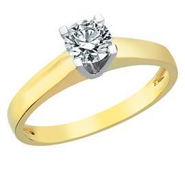 Помолвочное кольцо из белого и желтого золота 750 пробы с 1 бриллиантом 0,49 карат, артикул R-TRN04603-02
