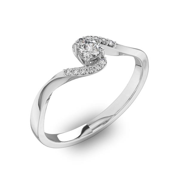Помолвочное кольцо с 1 бриллиантом 0,15 ct 4/5  и 12 бриллиантами 0,04 ct 4/5 из белого золота 585°
