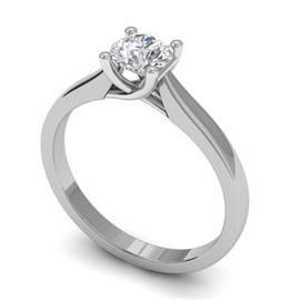 Помолвочное кольцо с 1 бриллиантом 0,40 ct 4/5  из белого золота 585°, артикул R-D43233-2