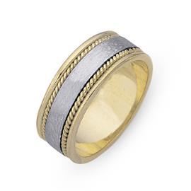 Обручальное кольцо из двухцветного золота 585 пробы, артикул R-СЕ021