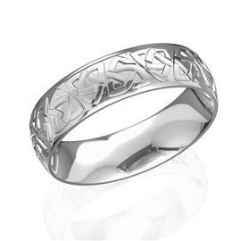 Обручальное кольцо дизайнерское из белого и  розового золота, ширина 6 мм, артикул R-W47734-2