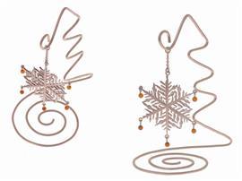 Новогодний подарок сувенир Снежинка с янтарём , артикул R-sne-1y