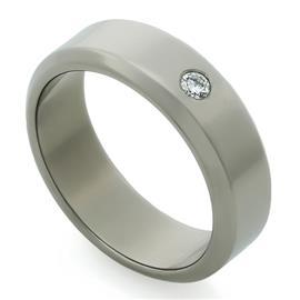Обручальное кольцо из титана с 1 бриллиантом, артикул R-Т4520
