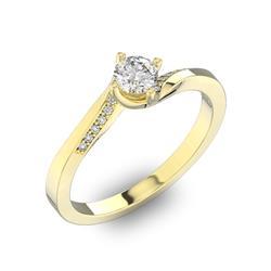 Помолвочное кольцо с 1 бриллиантом 0,40 ct 4/5  и 14 бриллиантами 0,04 ct 4/5 из желтого золота 585°, артикул R-D41072-1