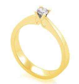 Помолвочное кольцо с 1 бриллиантом 0,15 ct 4/6  из желтого золота 585°, артикул R-YZ41422-1