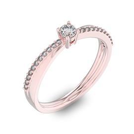 Помолвочное кольцо с 1 бриллиантом 0,1 ct 4/5  и 22 бриллиантами 0,06 ct 4/5 из розового золота 585°, артикул R-D34045-3