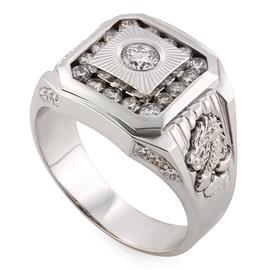 Мужское кольцо с 1 бриллиантом 0,19 ct 3/5, 16 бриллиантами 0,55 ct 5/5 и 12 бриллиантами 0,16 ct 5/5 из белого золота 750°, артикул R-DRN08987-01