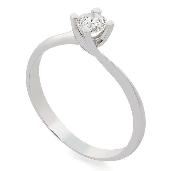 Помолвочное кольцо с 1 бриллиантом 0,30 ct 3/6  белое золото 750° , артикул R-TRN05281-83