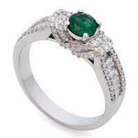 Кольцо с 1 изумрудом 0,37 ct и 92 бриллиантами 0,62 ct из белого золота