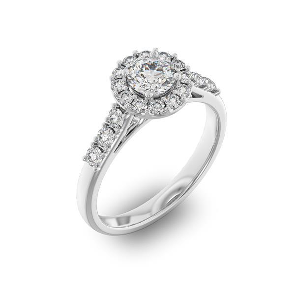 Помолвочное кольцо с 1 бриллиантом 0,45 ct 4/5  и 18 бриллиантами 0,45 ct 4/5 из белого золота 585°