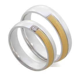 Обручальные парные кольца с бриллиантом из белого и жёлтого золота 585 пробы, артикул R-Е1029