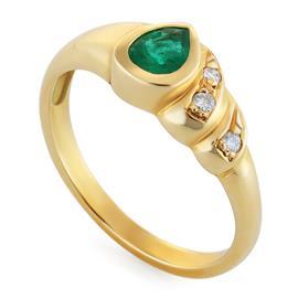 Кольцо с 1 изумрудом 0,28 ct 2/3 и 3 бриллиантами 0,03 ct 3/4 желтое золото, артикул R-6441