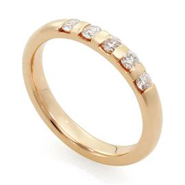 Обручальное кольцо с 5 бриллиантами 0,25 карат розовое золото, артикул R-1672-3