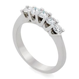 Кольцо с 5 бриллиантами 0,60 ct 3/6  белое золото 750° с сертификатом, артикул R-АLY00704-41