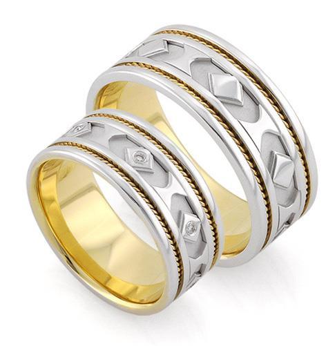 """Обручальные кольца парные с бриллиантами серии """"Twin Set"""", артикул R-ТС 3335"""