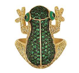 Кольцо Лягушка золото фианит, артикул R-ТТ175-1