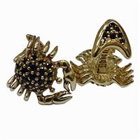 Запонки Краб из серебра 925° с покрытием золотом