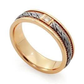 Обручальное кольцо с 1 бриллиантом белое и розовое золото 585 проба, артикул R-ТС L 1912-3