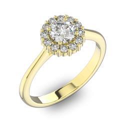 Помолвочное кольцо с 1 бриллиантом 0,5 ct 4/5  и 12 бриллиантами 0,24 ct 4/5 из желтого золота 585°, артикул R-D42195-1