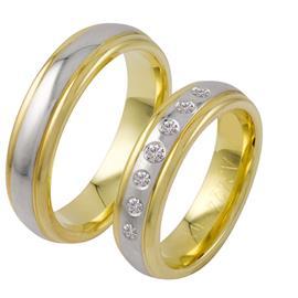 Обручальные кольца с бриллиантами из золота, артикул R-ТС 3424