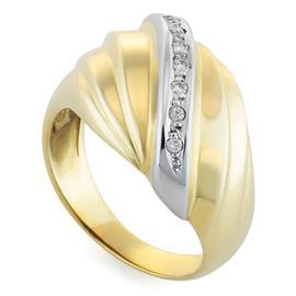 Кольцо с 7 бриллиантами 0,08 ct 3/3 из желтого золота, артикул R-6424
