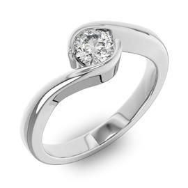 Помолвочное кольцо 1 бриллиантом 0,5 ct 4/5 из белого золота 585°, артикул R-D38248-2