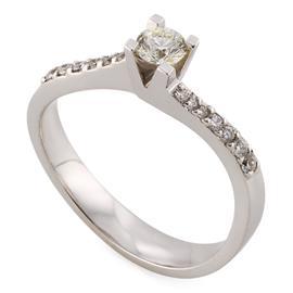 Помолвочное кольцо из белого золота 750 пробы с 1 бриллиантом 0,23 карат и 18 бриллиантами 0,08 карат, артикул R-СА119