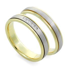 Обручальные кольца с бриллиантами из белого и желтого золота 585 пробы, артикул R-ТС F 1068