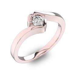 Помолвочное кольцо 1 бриллиантом 0,34 ct 4/5 из розового золота 585°, артикул R-D40648-3