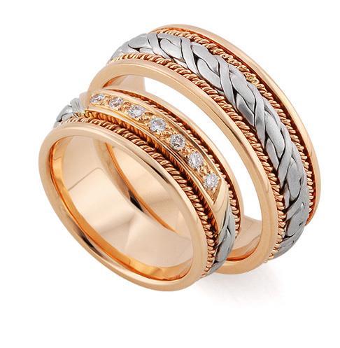 Эксклюзивные обручальные кольца из золота 585 пробы, артикул R-тс 1566-3