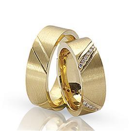 Обручальные кольца парные с бриллиантами из золота 585 пробы, артикул R-ТС 1578